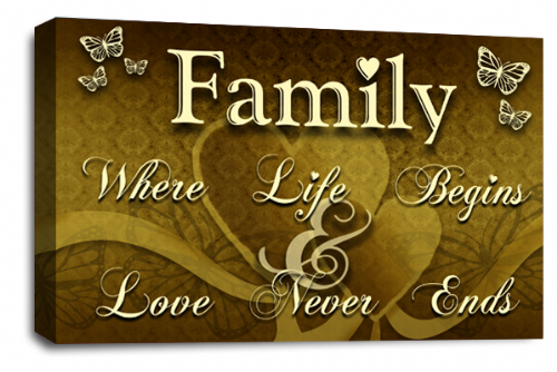 Family Quote Wall Art Picture Brown Cream Gold Love Print